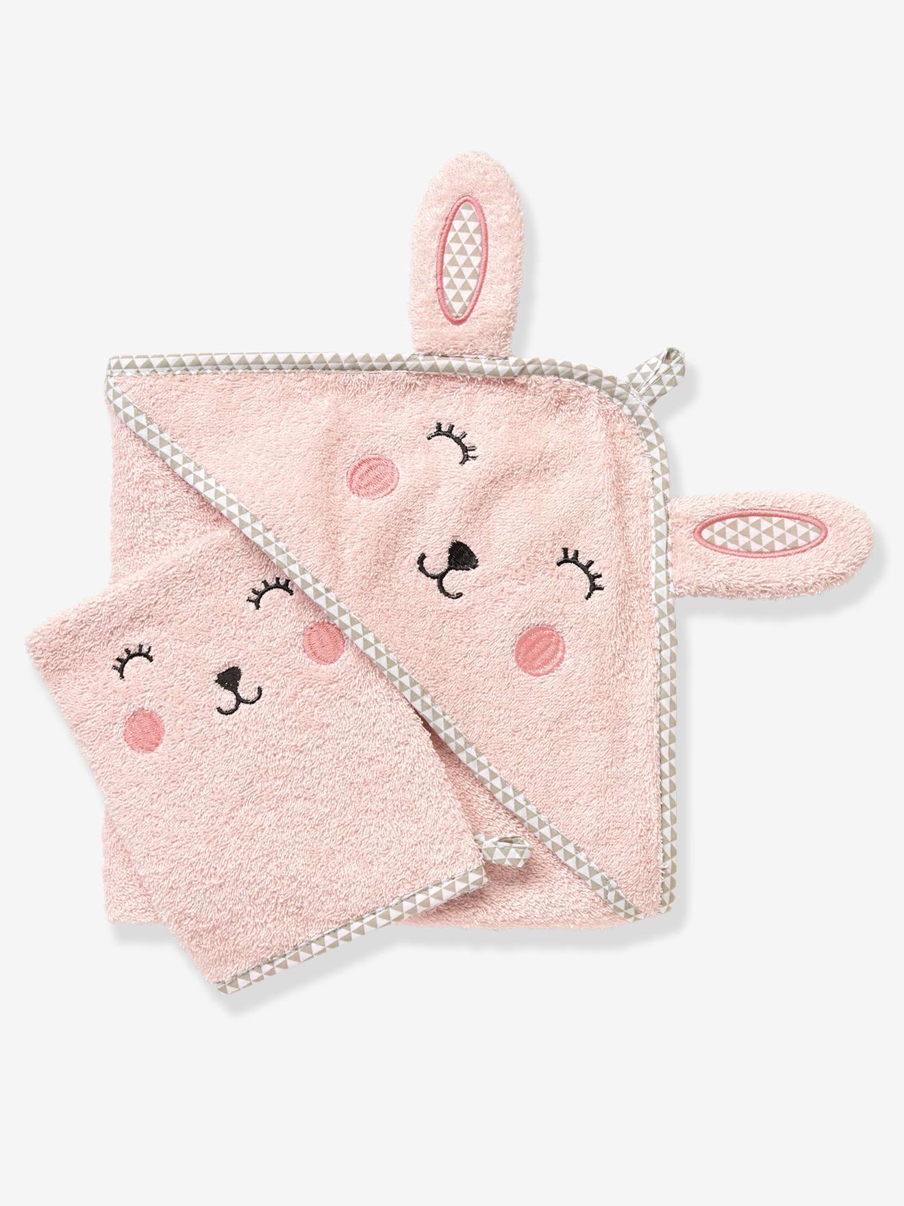 Cape de bain bébé à capuche brodée animaux rose