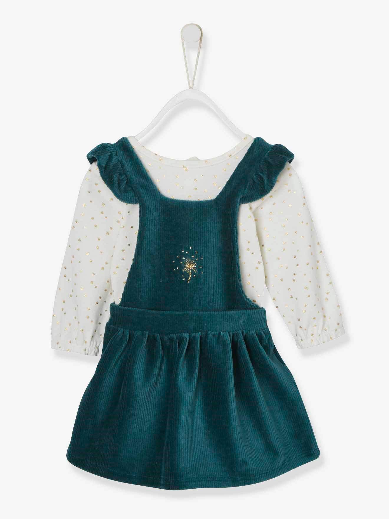 ensemble robe en velours + body bebe naissance