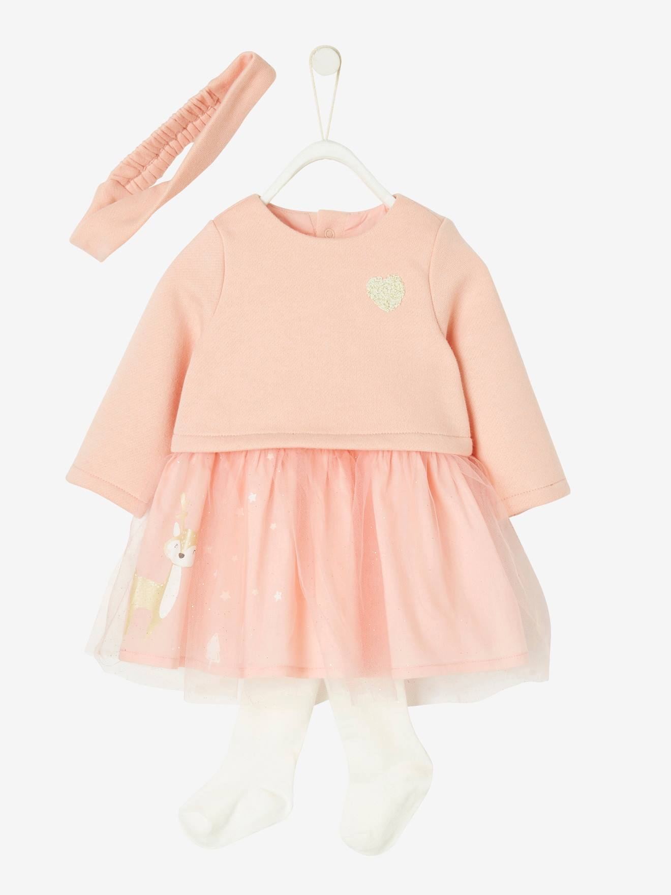Ensemble de fêtes bébé fille robe + bandeau + collant rose , Vertbaudet