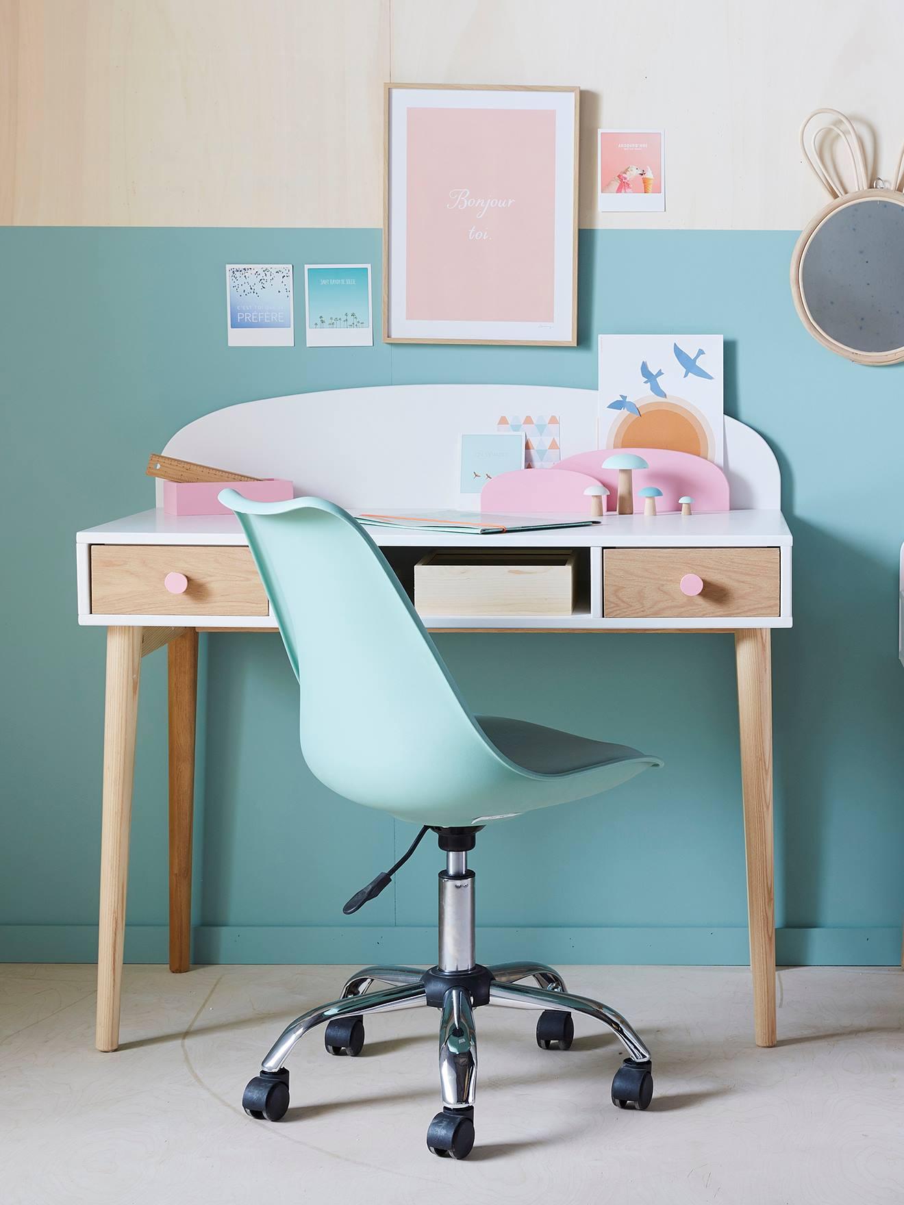 Chaise roulettes rose Vertbaudet de primaire bureau à TlFJK1c