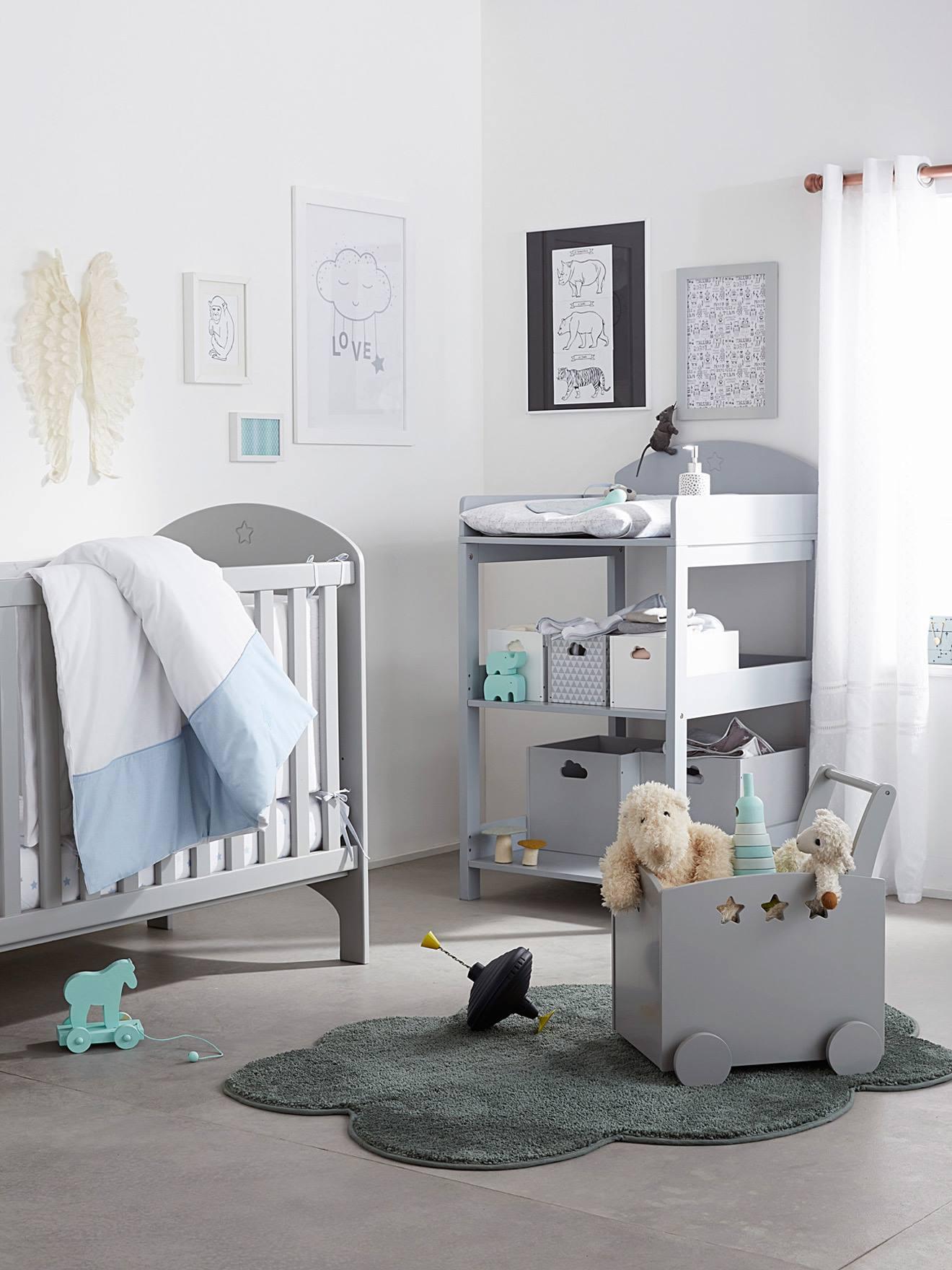 Grand Lit Bébé à Barreaux LIGNE SIRIUS Blanc+Gris 7   Vertbaudet Enfant