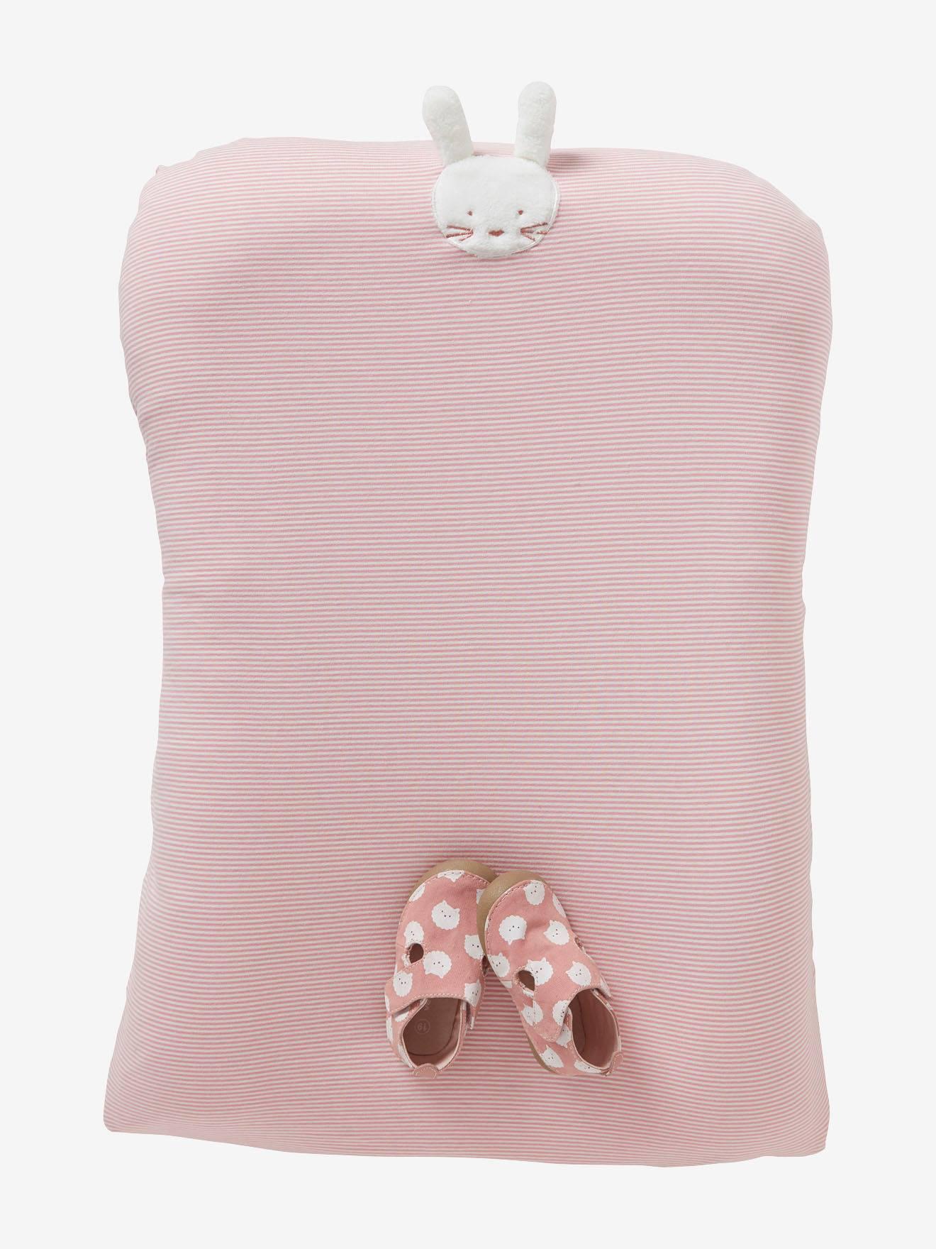 Housse de matelas à langer en coton rayé rose