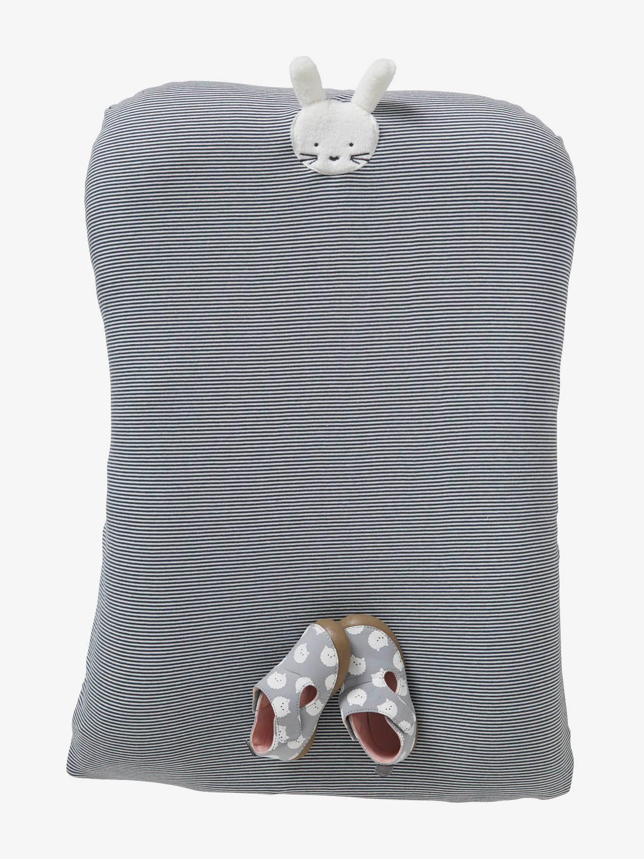 Housse de matelas à langer en coton rayé bleu