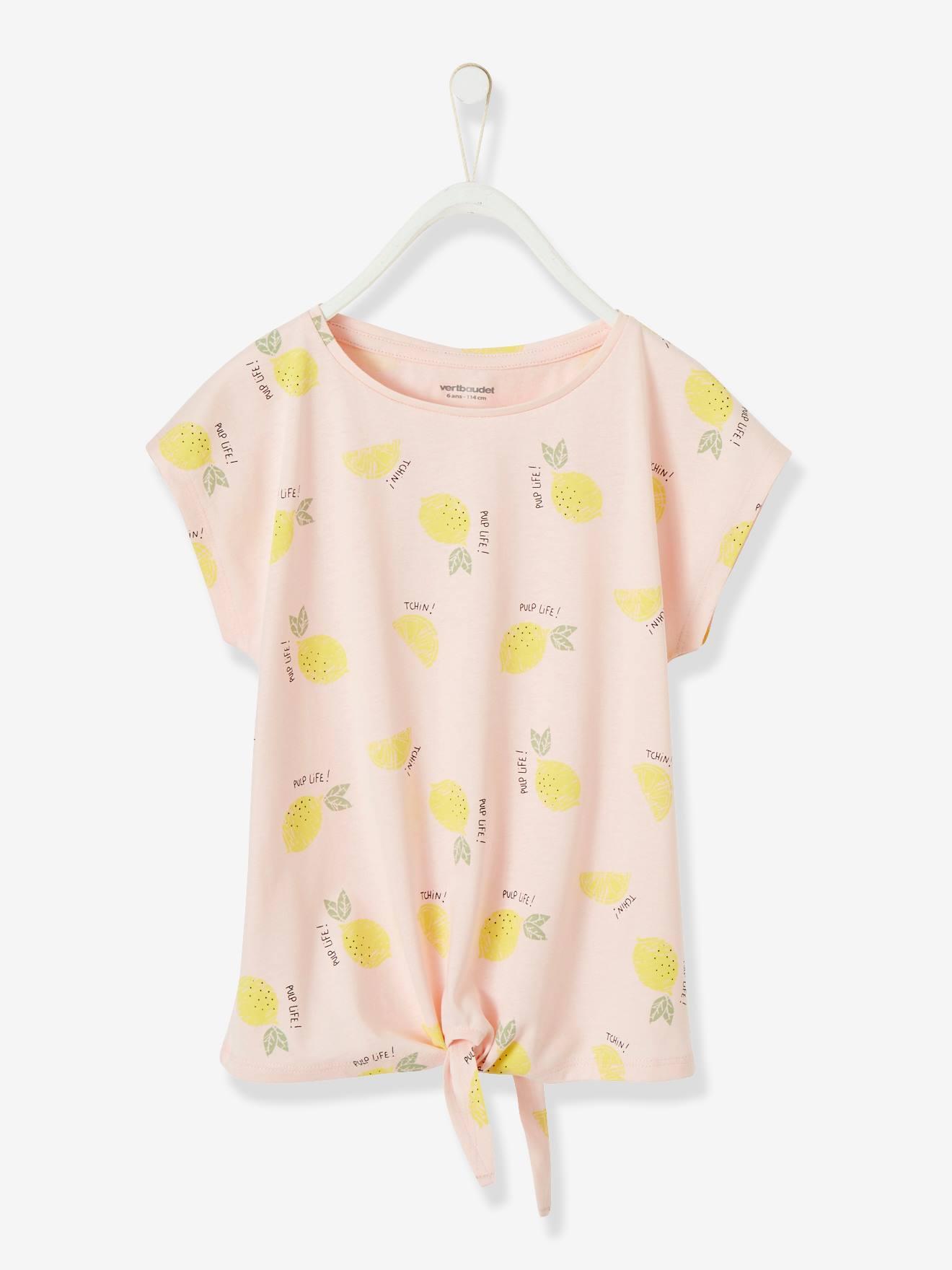 T shirt imprimé fille noeud fantaisie rose clair Vertbaudet