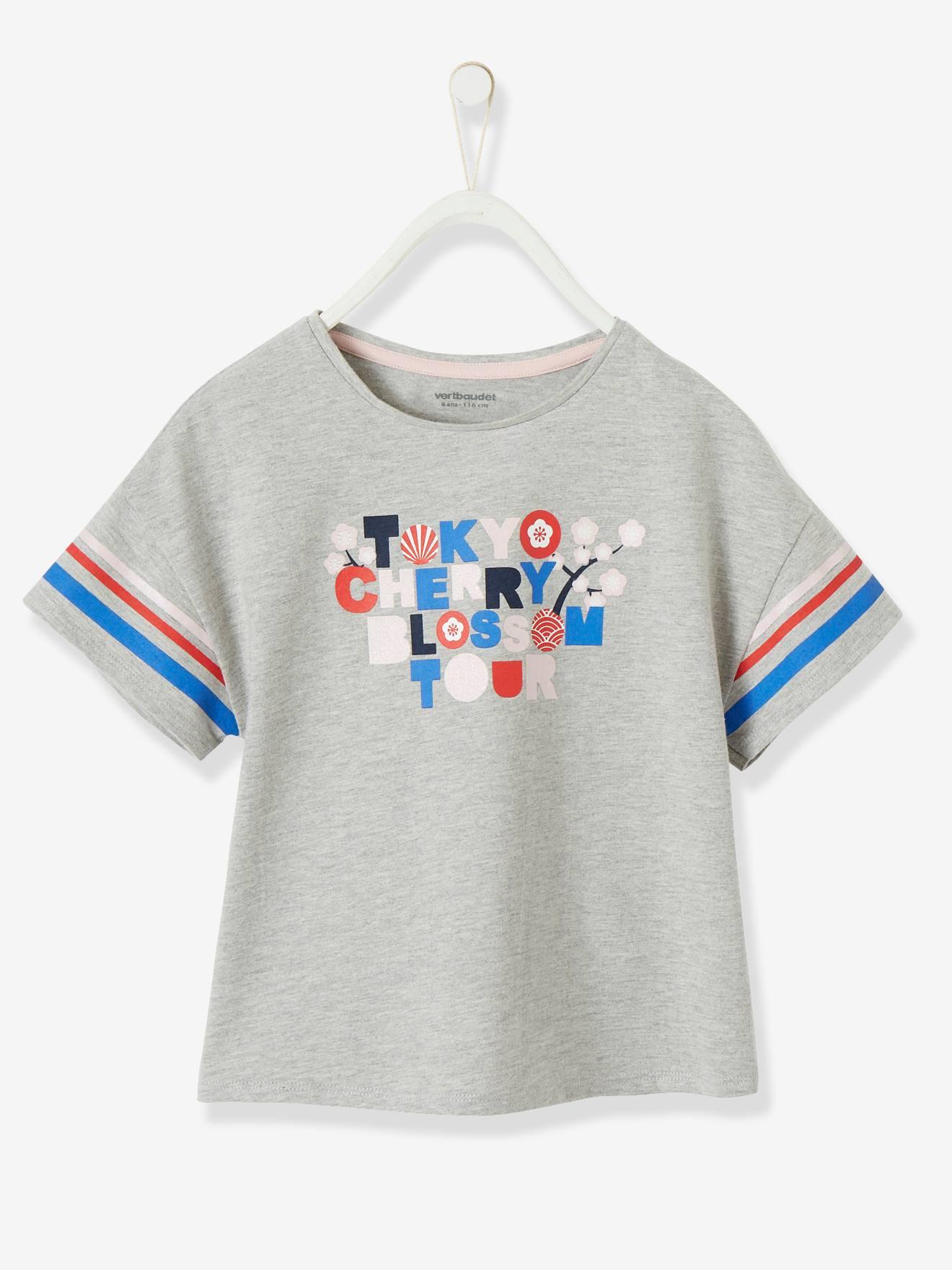 T-shirt fille motif graphique irisé gris chiné