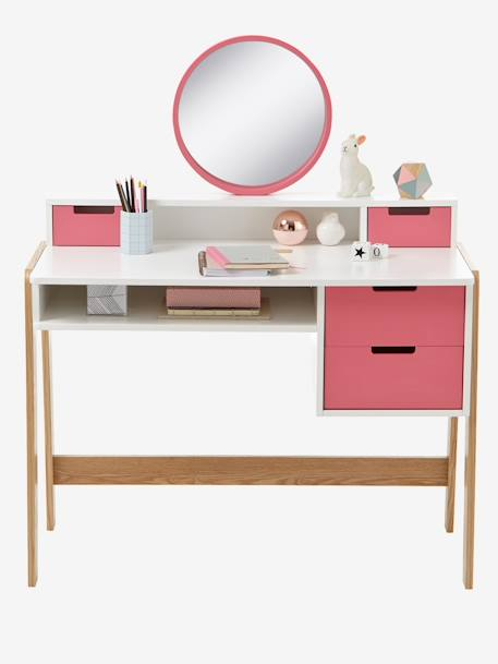 bureau coiffeuse sp cial primaire colors blocs blanc rose bois vertbaudet. Black Bedroom Furniture Sets. Home Design Ideas