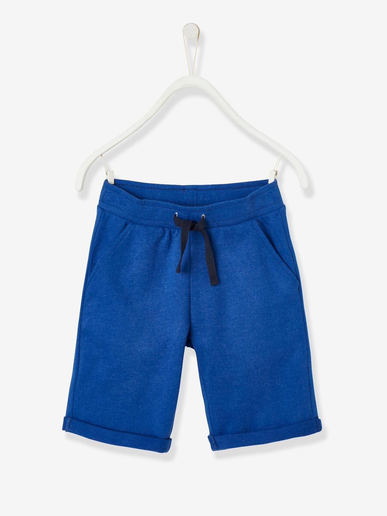 Bermuda garçon en molleton bleu électrique