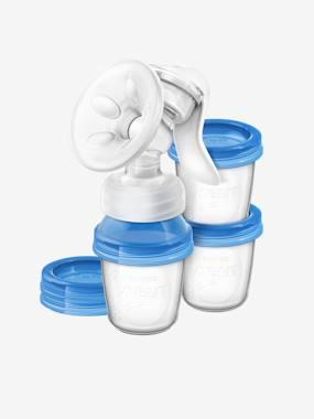 Set tire-lait + pots de conservation Philips AVENT Natural blanc / bleu