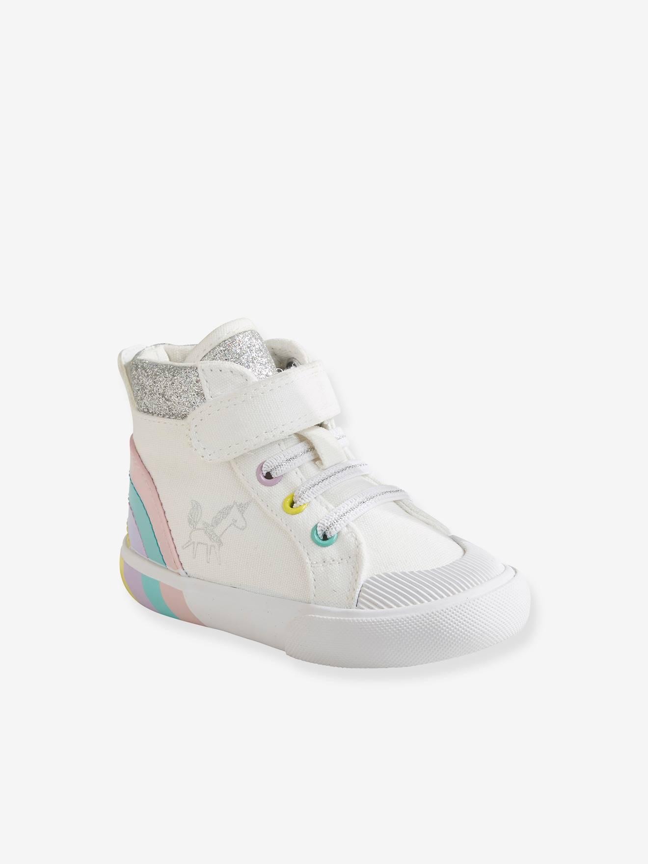 Baskets montantes bébé fille blanc - Vertbaudet