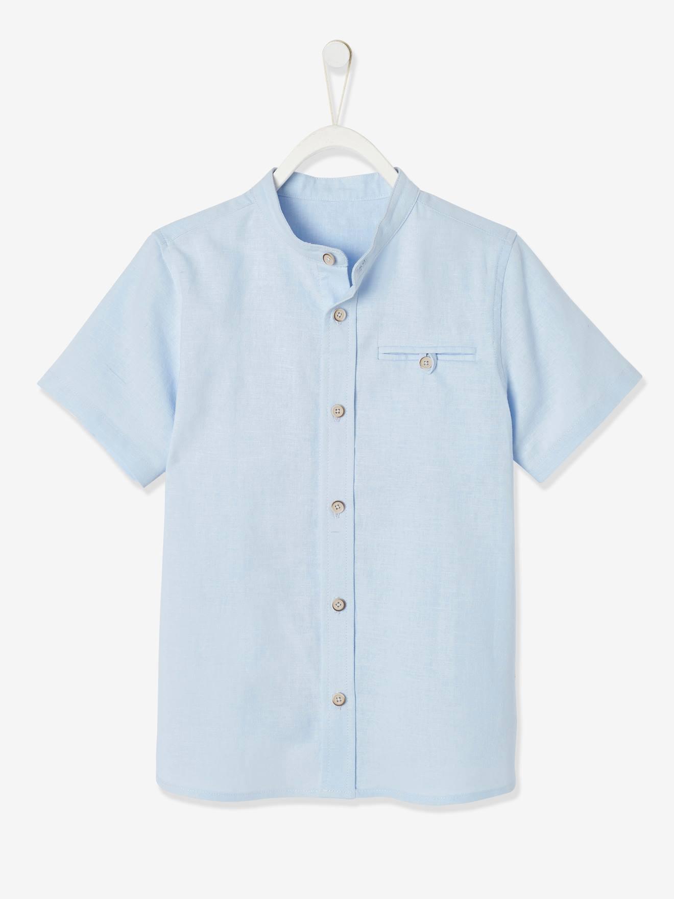 Chambre Bleu Ciel Et Lin chemise col mao garçon en coton/ lin manches courtes bleu ciel - vertbaudet