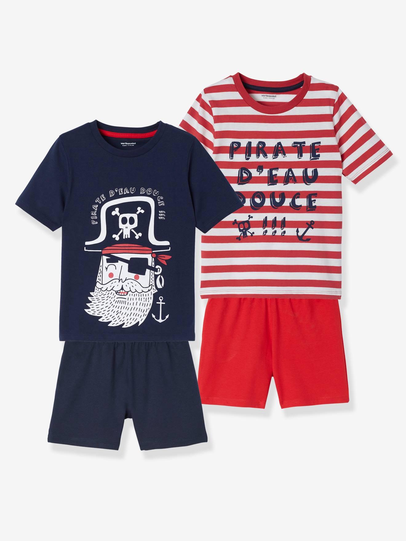 Lot de 2 pyjashorts garçon Pirate lot rouge