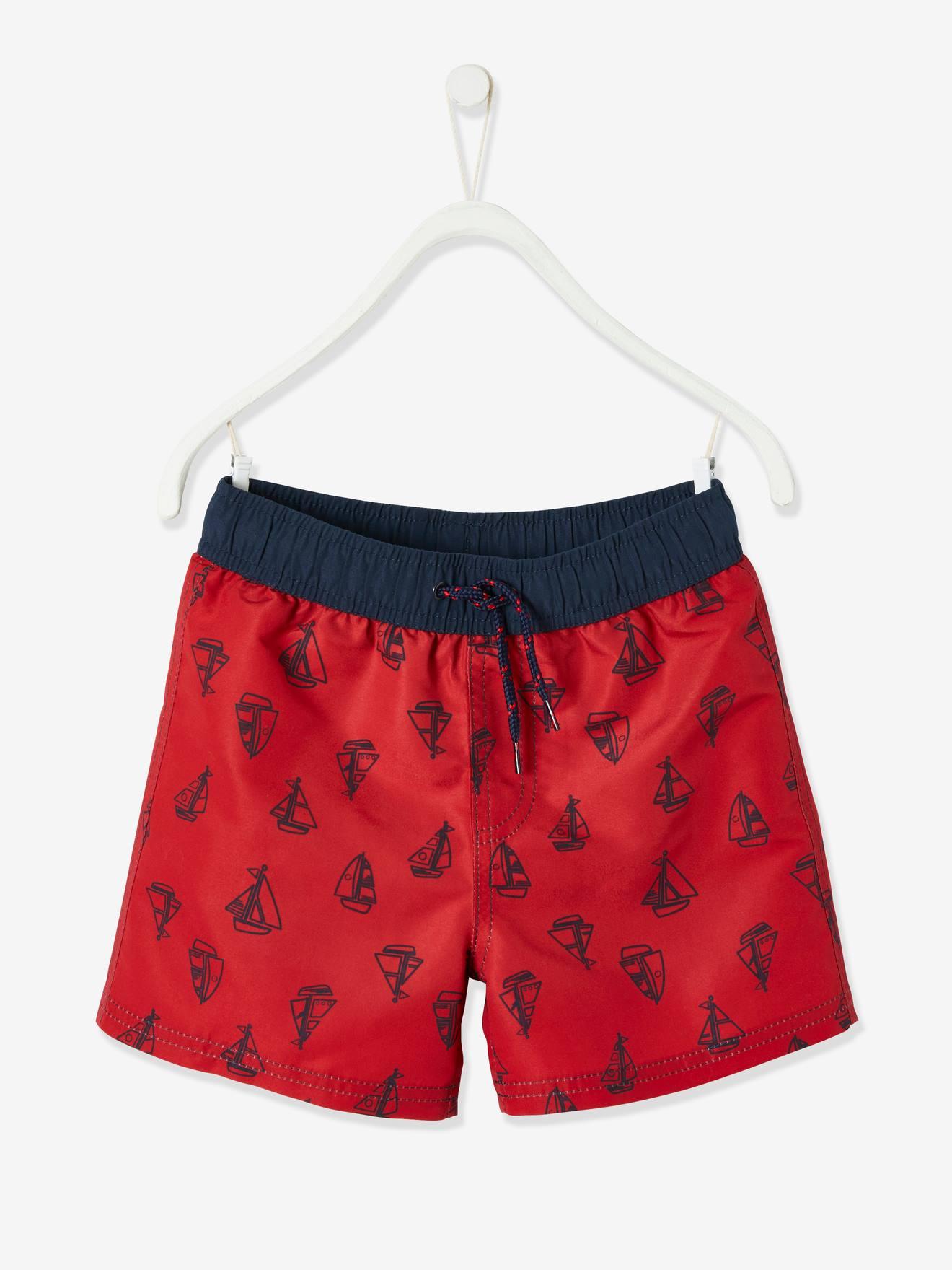 Maillot de bain garçon motifs bateaux imprimé rouge
