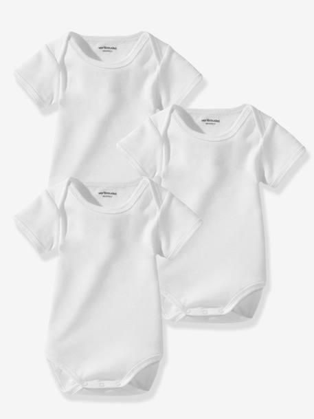 3db1826a1b3b5 Lot de 3 bodies bébé Bio Collection blancs manches courtes Blanc 2 -  vertbaudet enfant