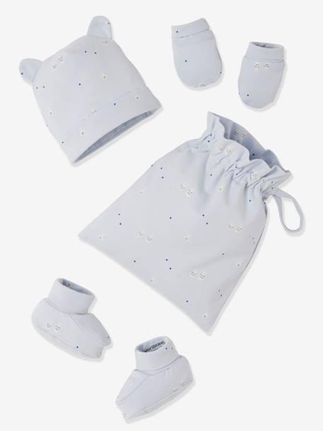 kit bonnet + chaussons + gants et sac bebe
