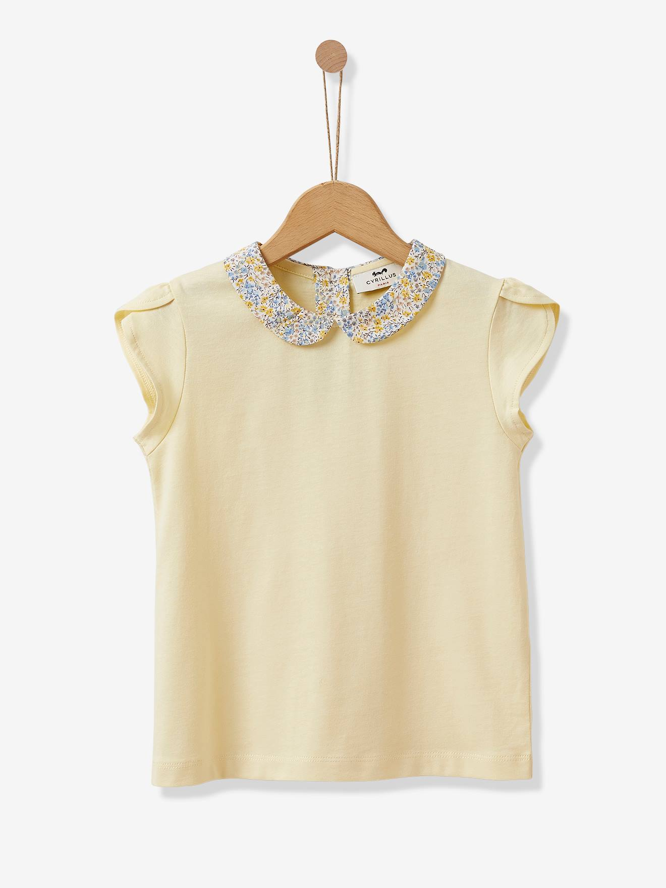 T-shirt col claudine fille CYRILLUS jaune / liberty phoebe