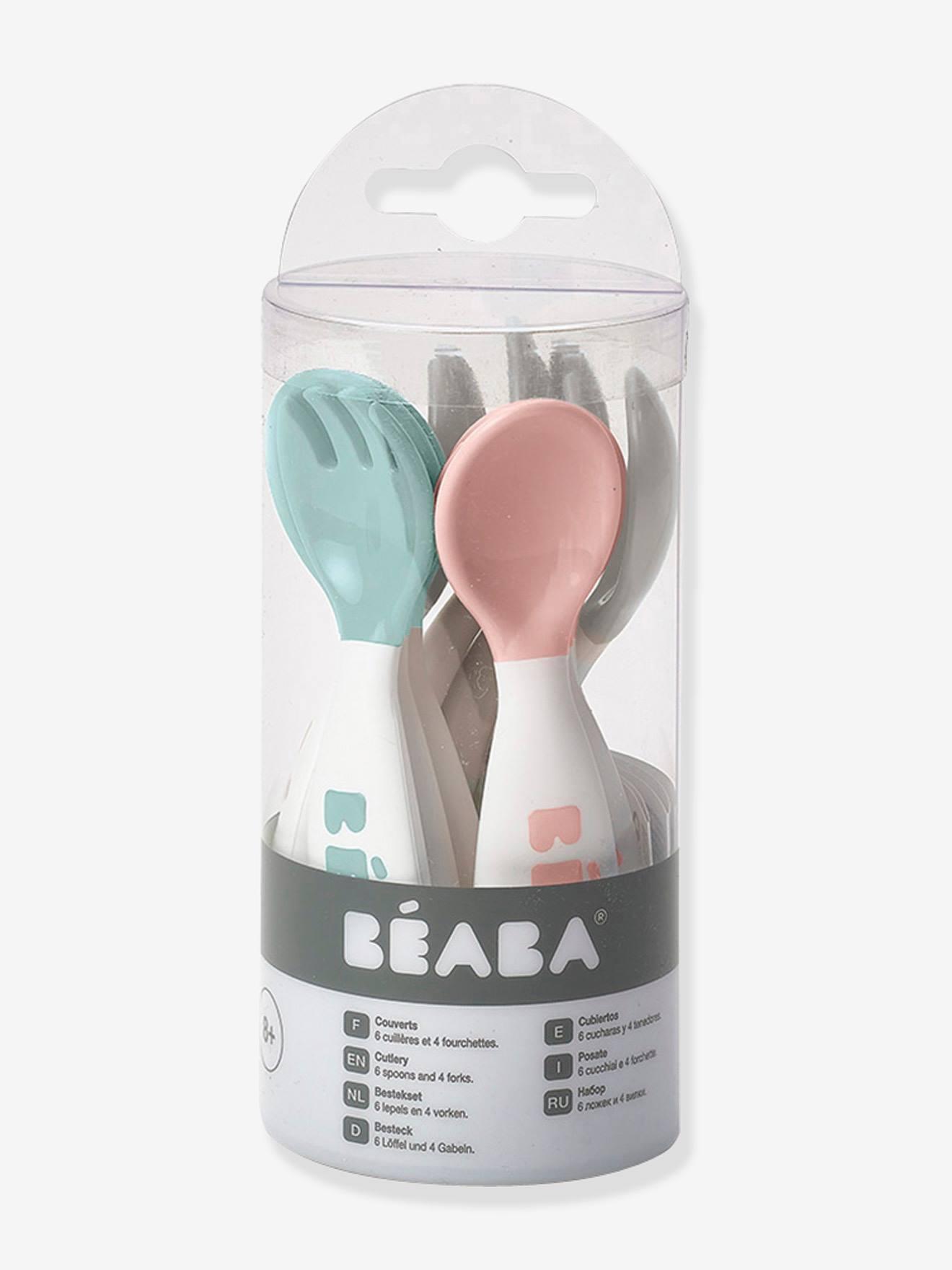 Lot de 10 couverts ergonomiques 2e âge BEABA old pink/ airy green/ light mi