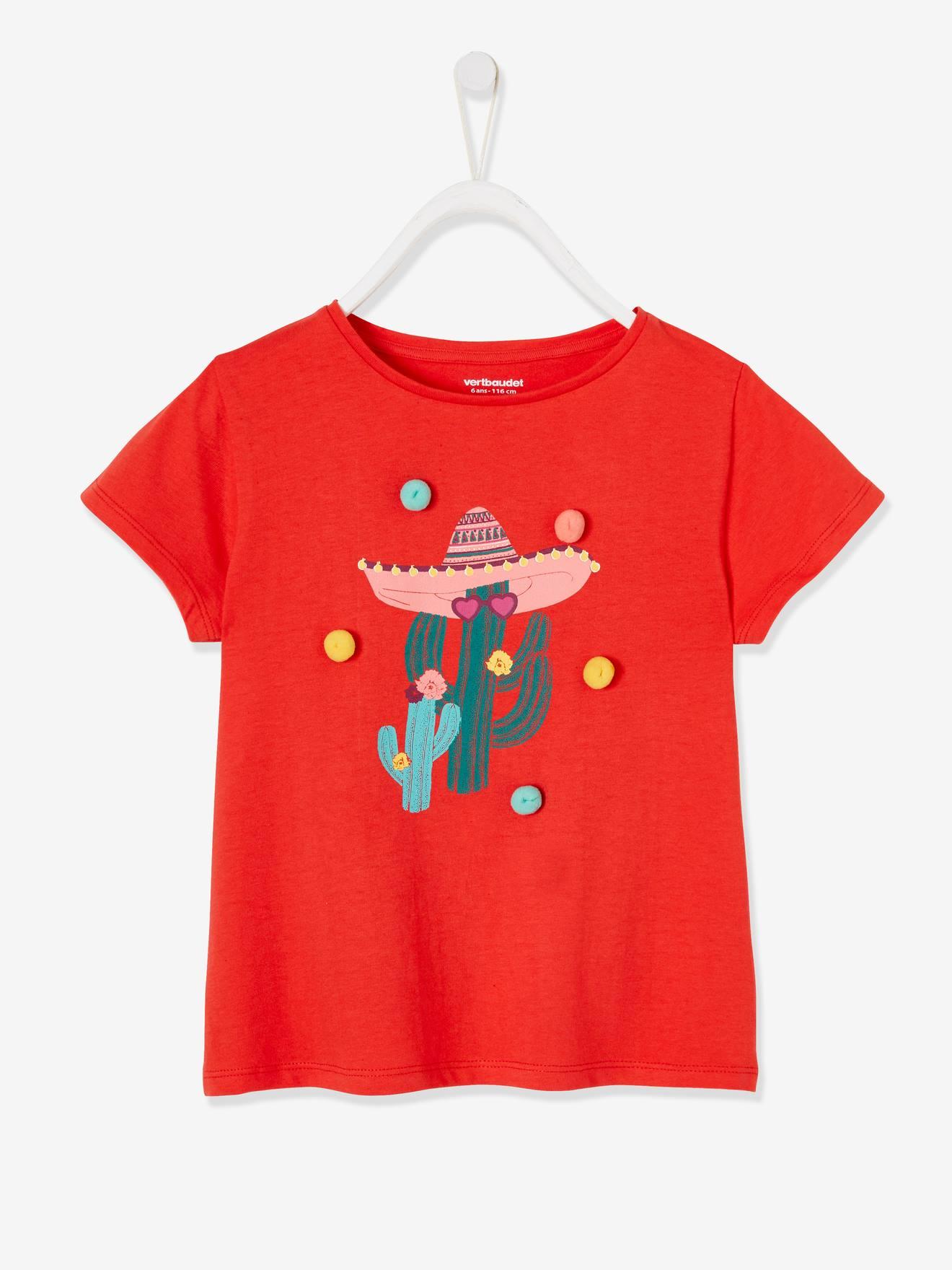 T-shirt fille motif cactus à pompons rouge