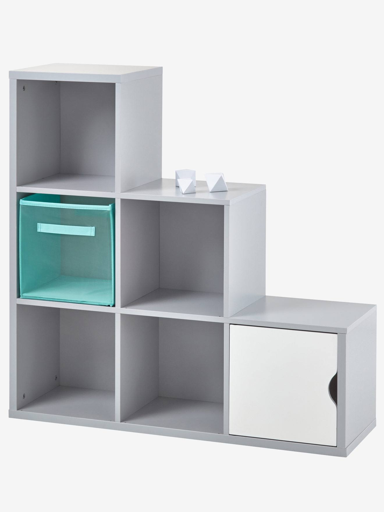 Meuble De Rangement 6 Cases Blanc+Gris 8   Vertbaudet Enfant