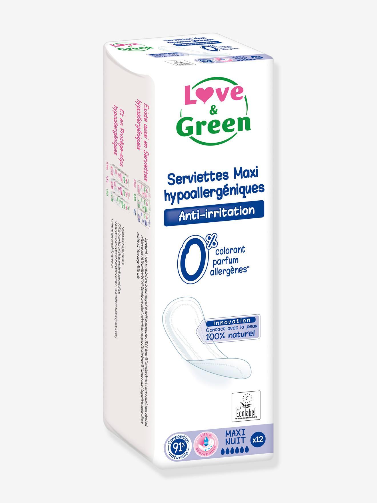 Serviettes hygiéniques écologiques LOVE&GREEN Maxi nuit x12