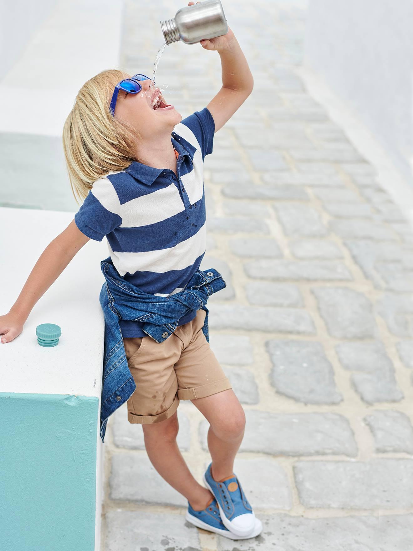 Bermuda garçon + ceinture rayée sable