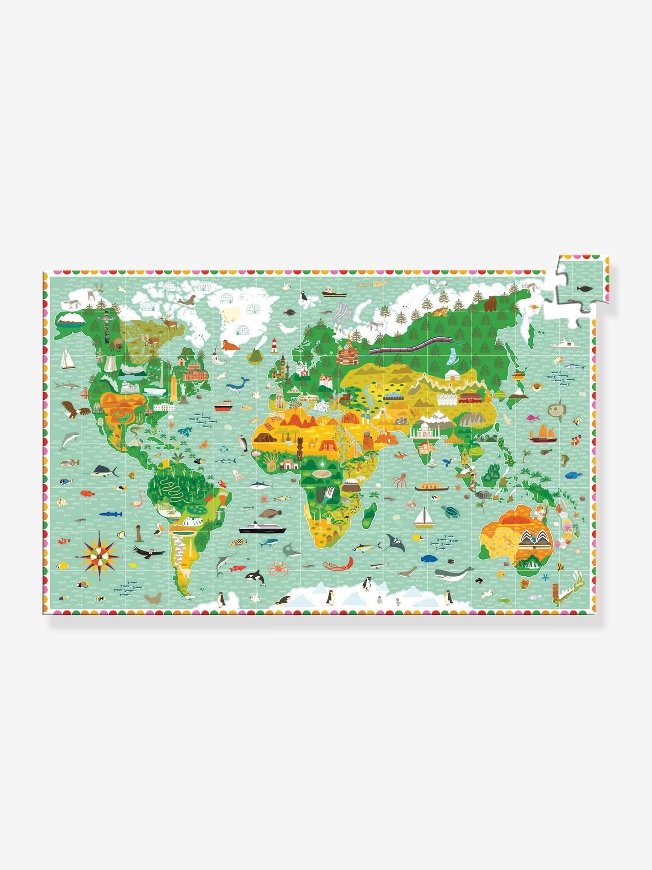 Puzzle d'observation 200 pièces Tour du Monde DJECO vert