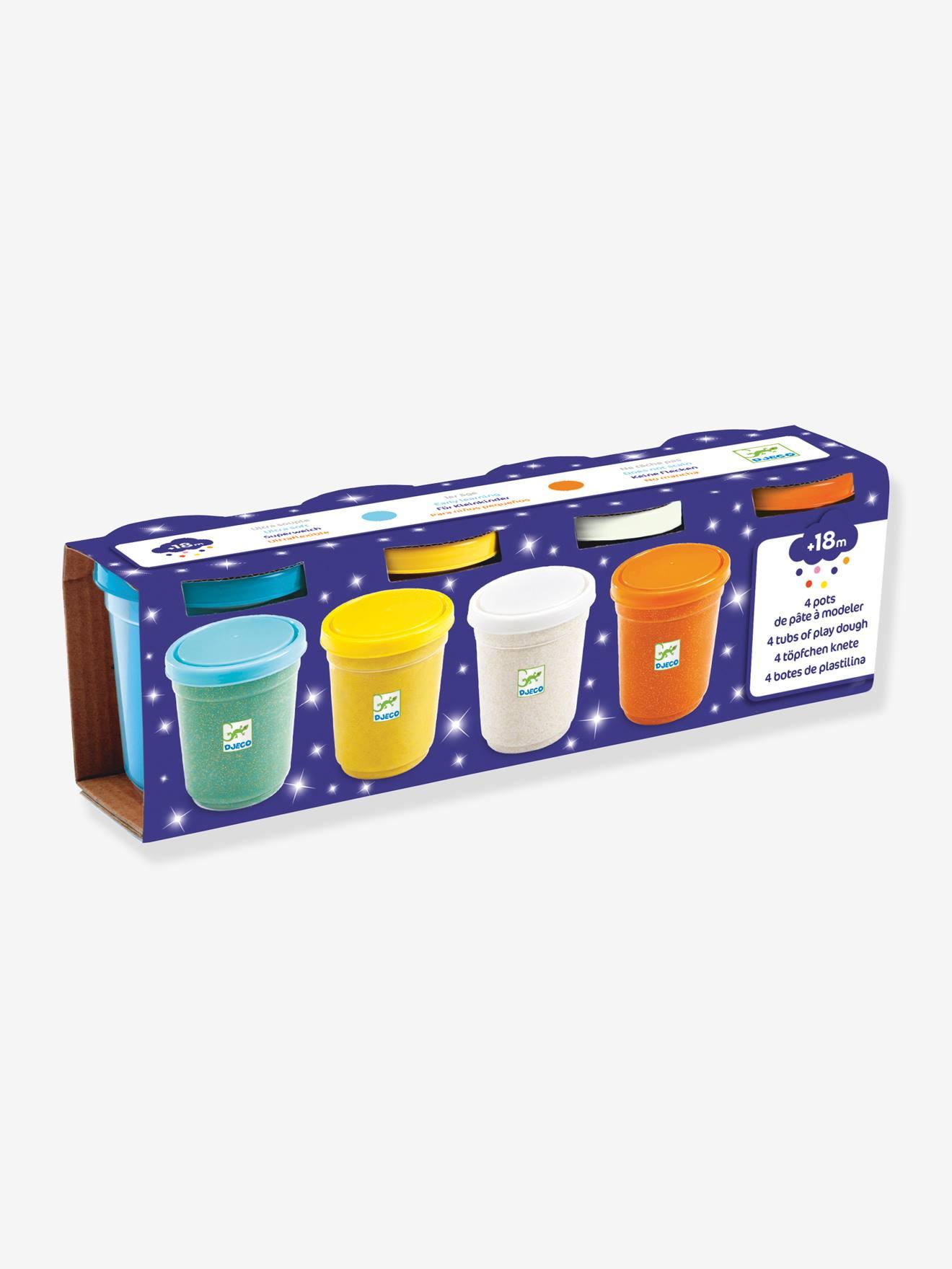 4 pots de pâte à modeler pailletée DJECO mutlicolore