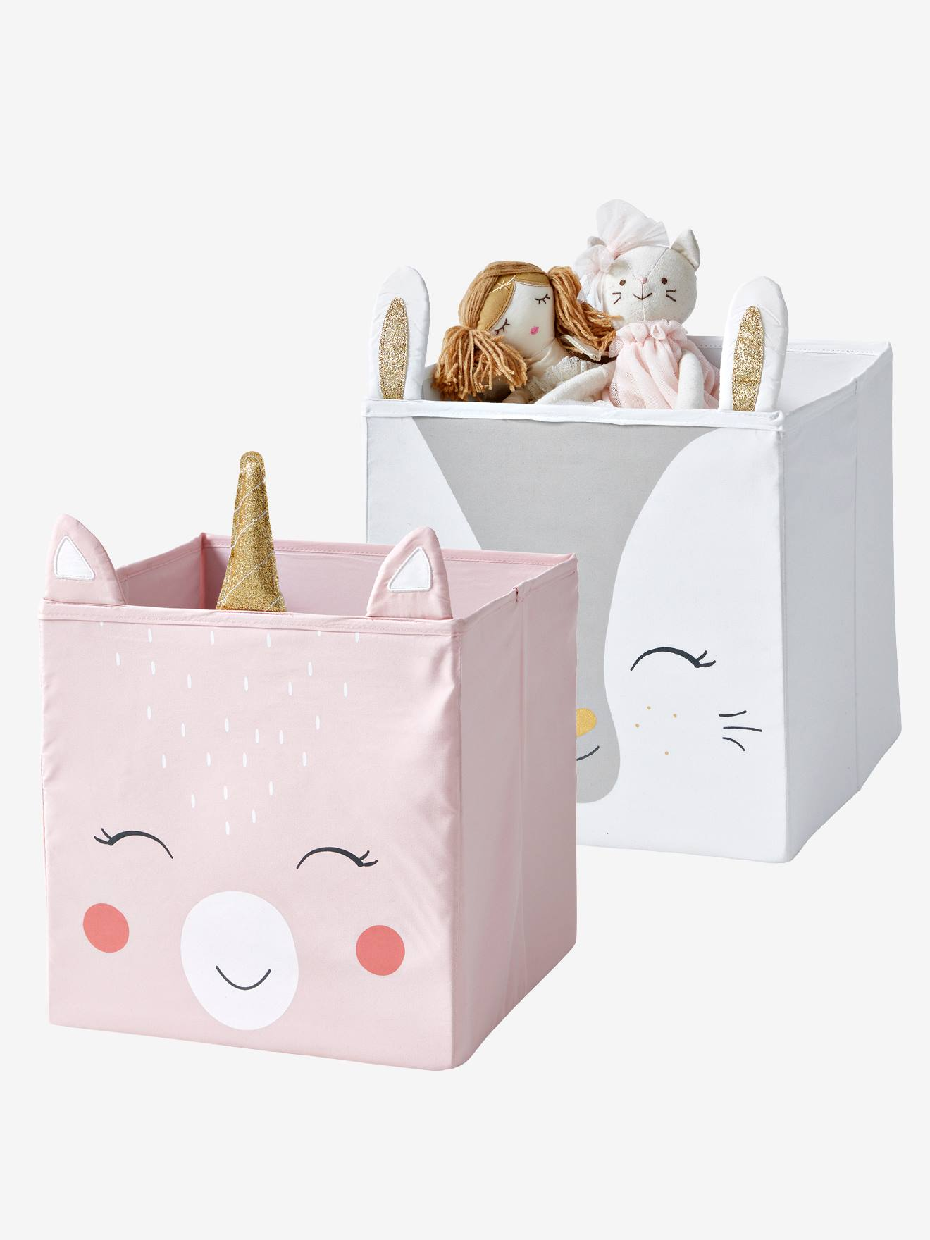 Lot de 2 bacs de rangement Magic Licorne rose + blanc