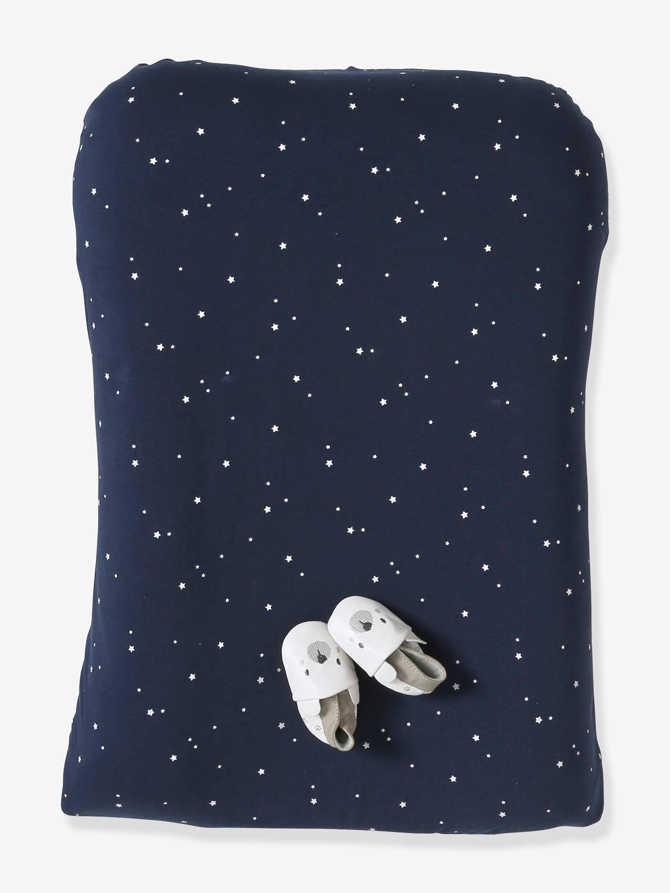 Housse de matelas à langer en coton marine étoiles