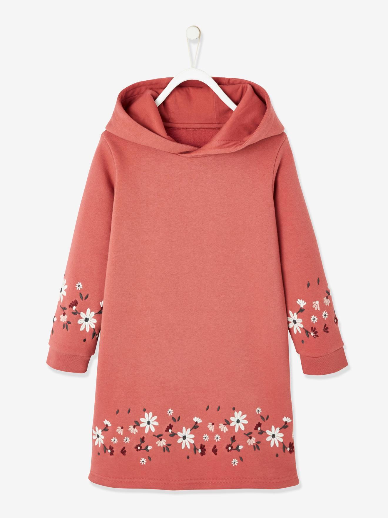 Robe molleton à capuche fille détails fantaisie rose hâlé