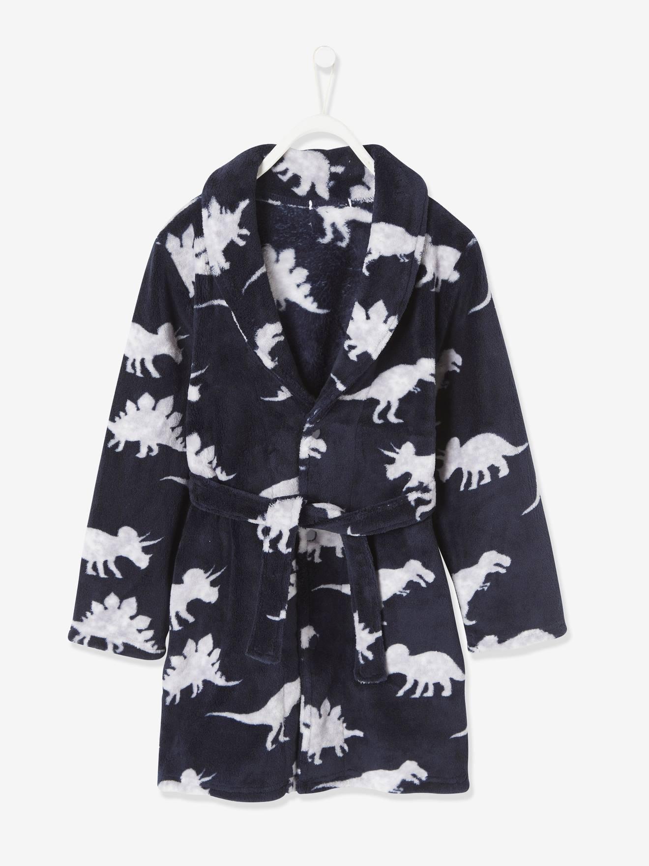 Robe de chambre aspect peluche garçon dinosaure encre imprimé