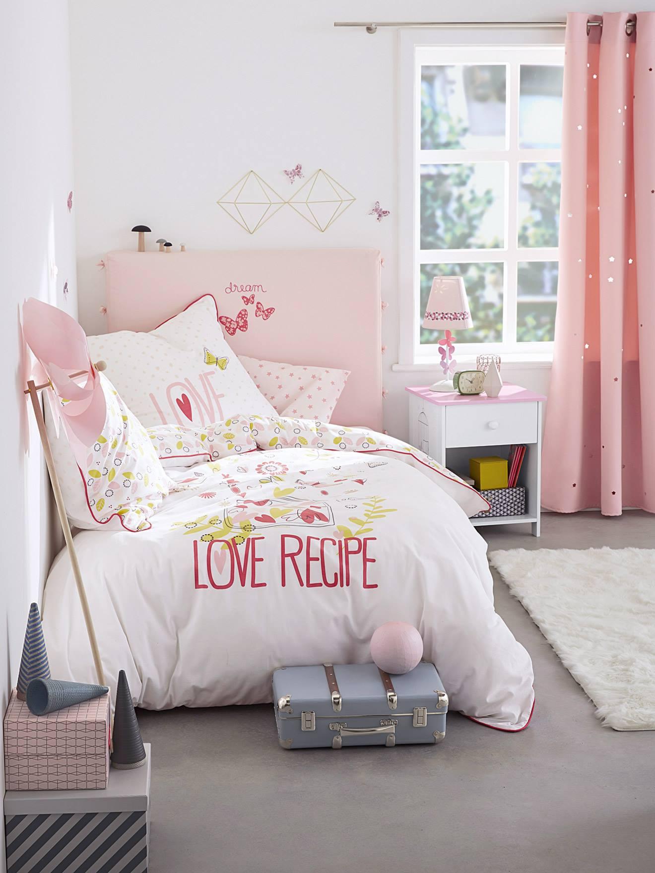 housse t te de lit miss butterfly ros vertbaudet. Black Bedroom Furniture Sets. Home Design Ideas