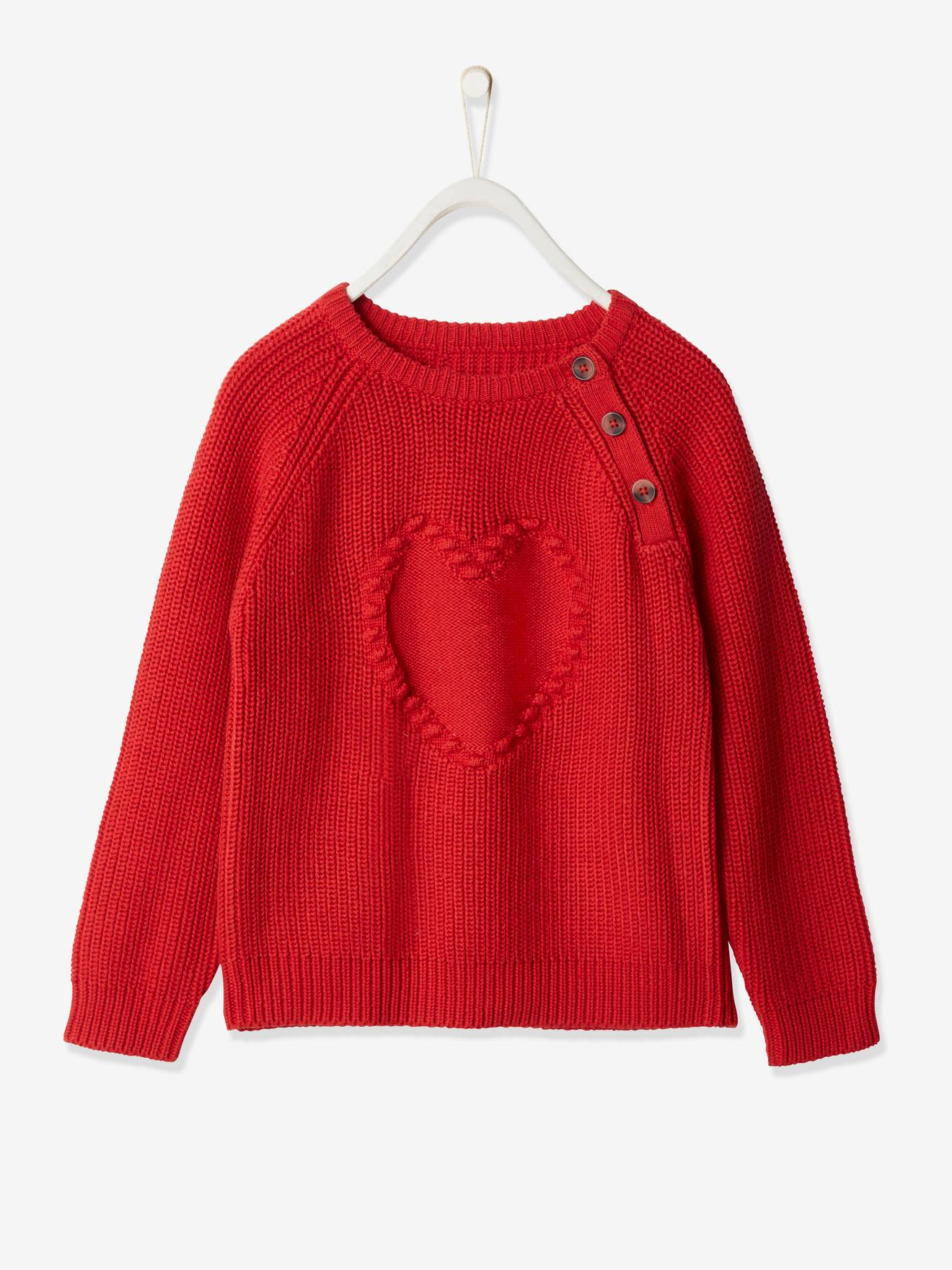Pull fille motif jacquard en maille fantaisie Oeko-Tex® rouge