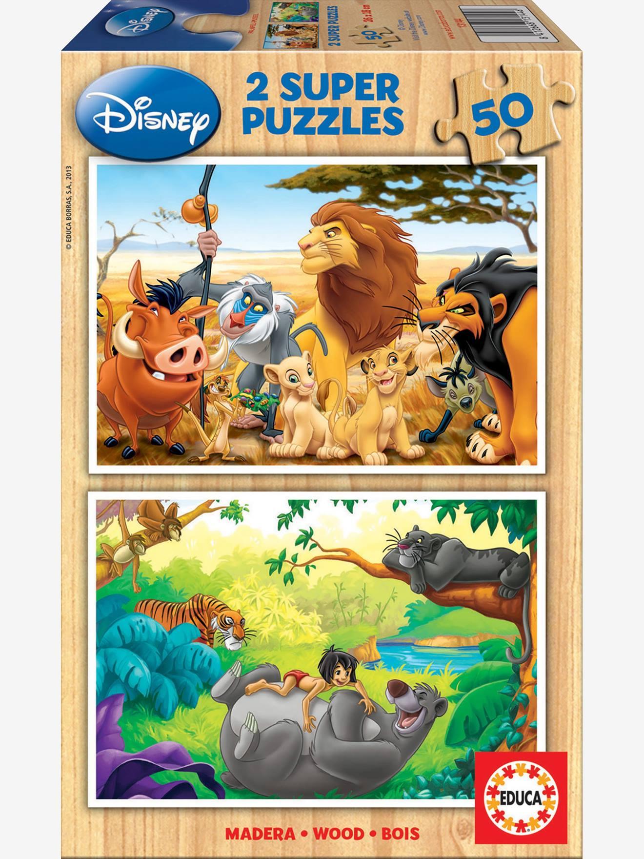 Lot de 2 puzzles bois 50 pièces Disney® Animal Friends Roi Lion + Livre de la jungle EDUCA bunt