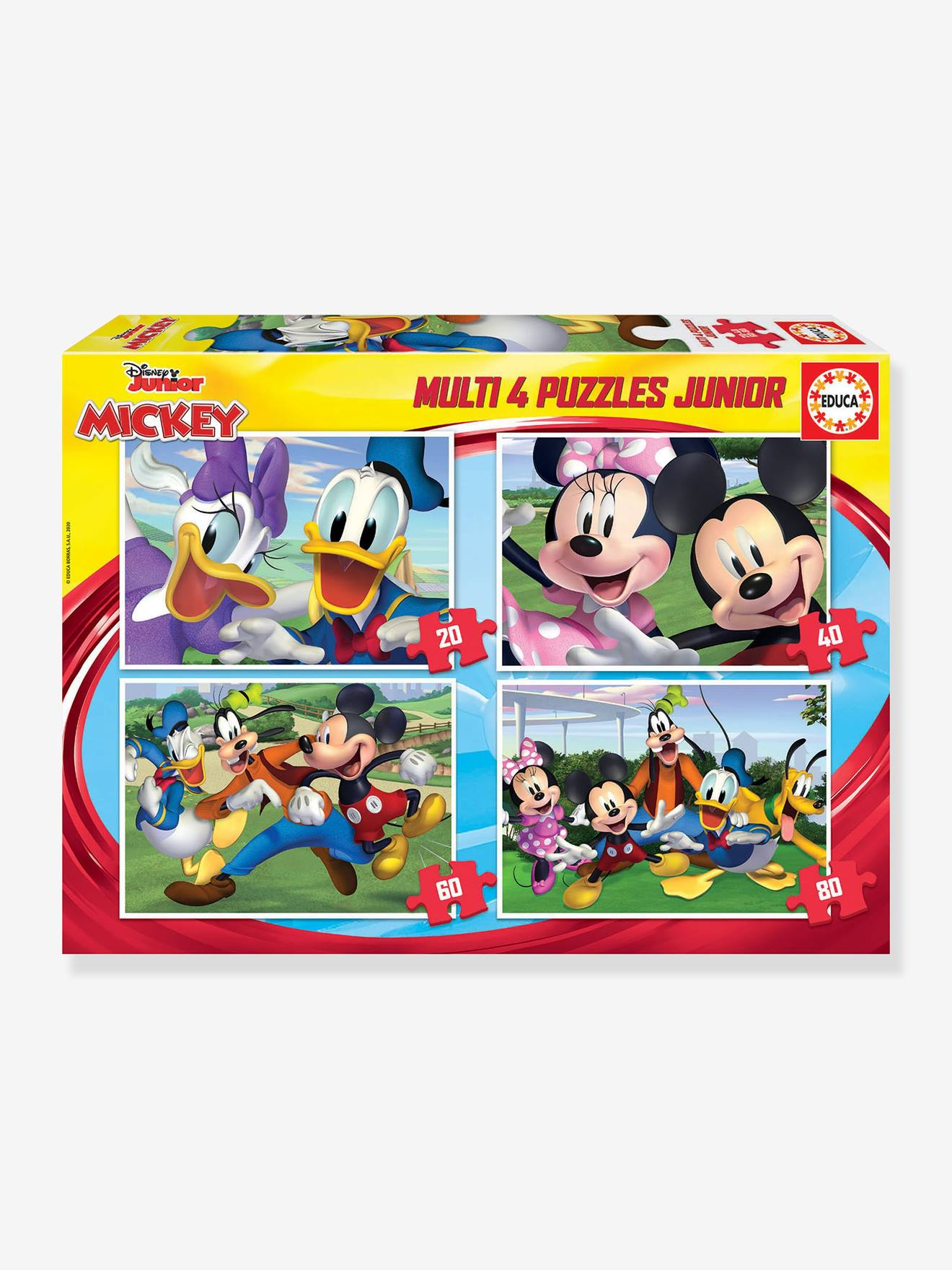 Lot de 4 puzzles progressifs 20 à 80 pièces Multi 4 Junior Disney® Mickey&friends EDUCA