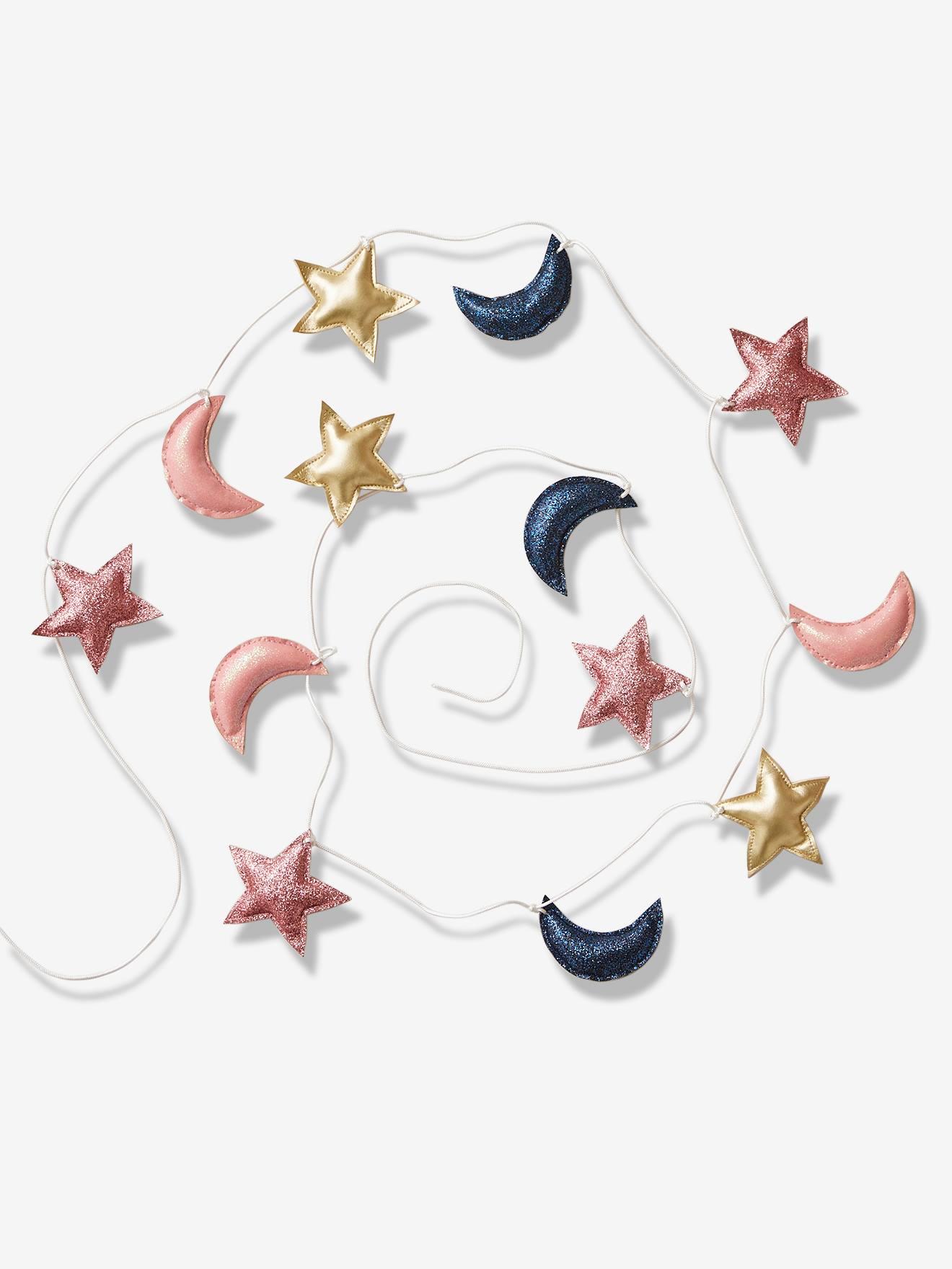 Guirlande étoiles et lune rose foncé