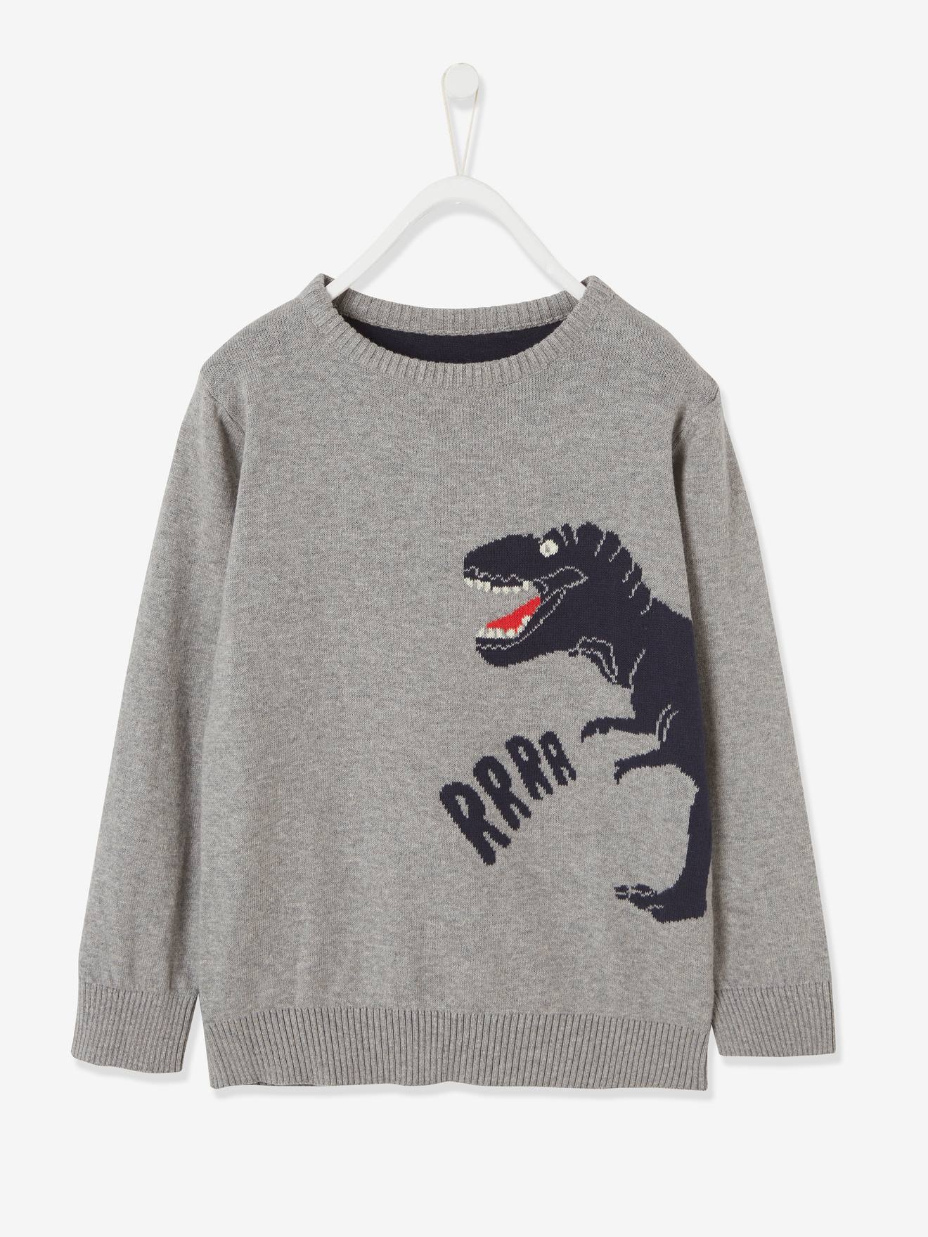 Pull jacquard garçon motif ludique Oeko-Tex® gris chiné