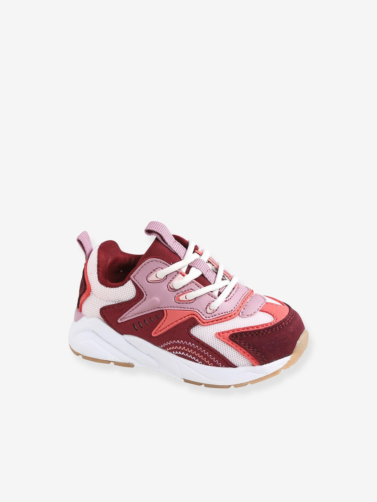 Baskets lacées bébé fille esprit running rose
