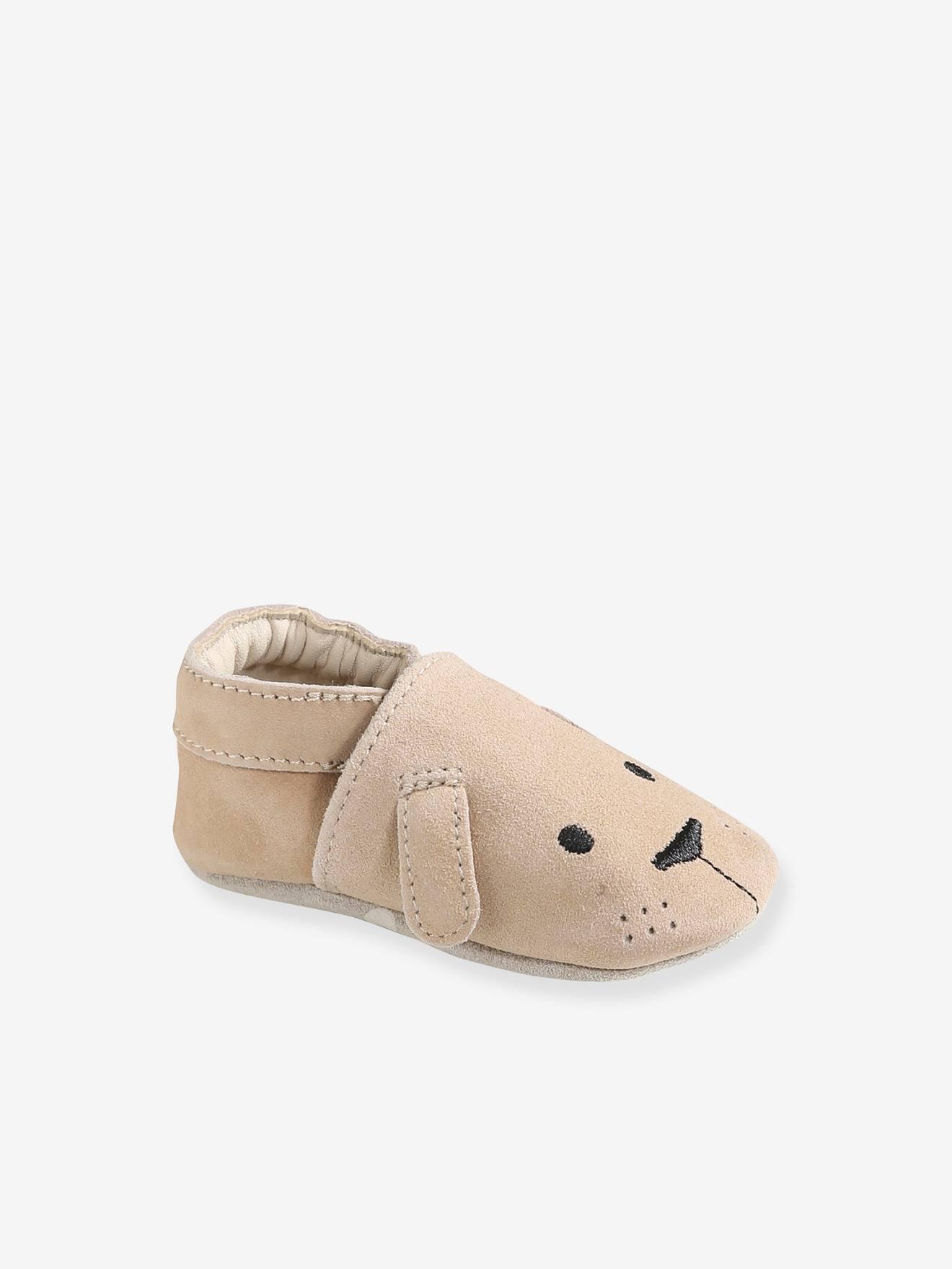 Chaussons de parc bébé garçon cuir souple sable