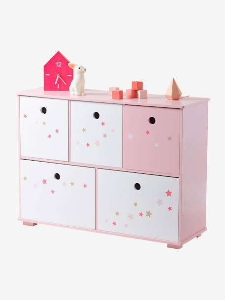 meuble de rangement 5 bacs ligne feerie rose toiles 1 vertbaudet enfant