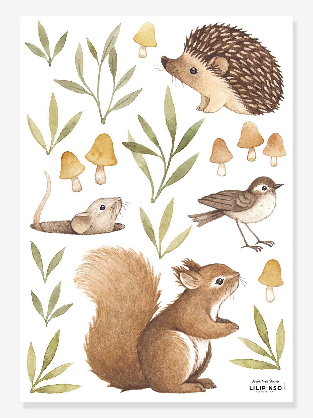 Planche de stickers Lilipinso petits animaux de la forêt