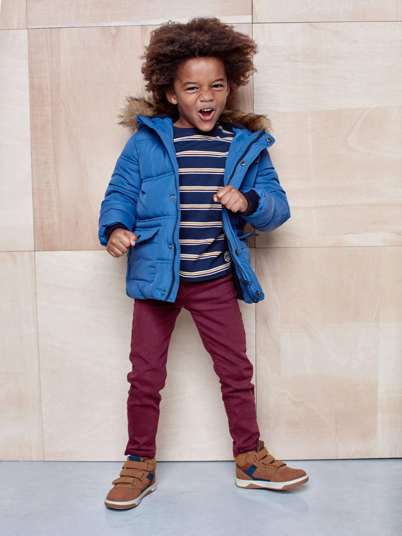 Doudoune longue à capuche garçon et ses moufles/ gants assortis bleu