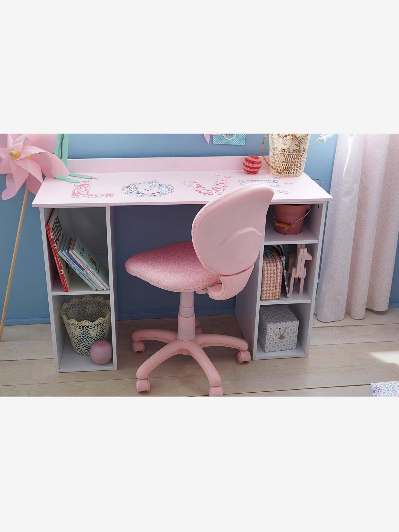 Chaise de bureau roulettes rosefleurs Vertbaudet