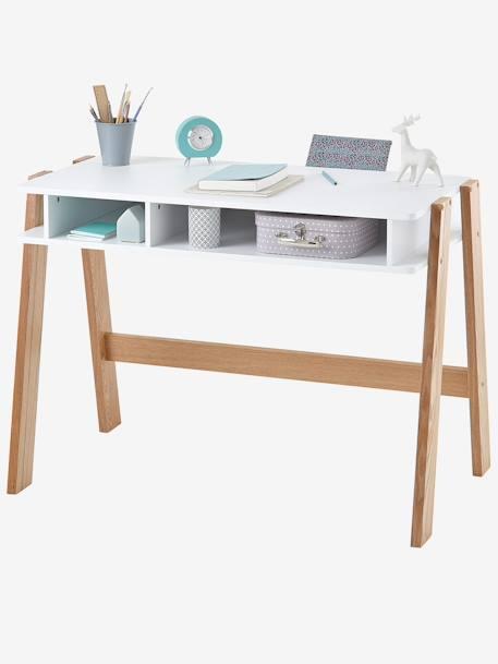 Bureau junior architekt blanc bois clair vertbaudet for Bureau enfant vert baudet