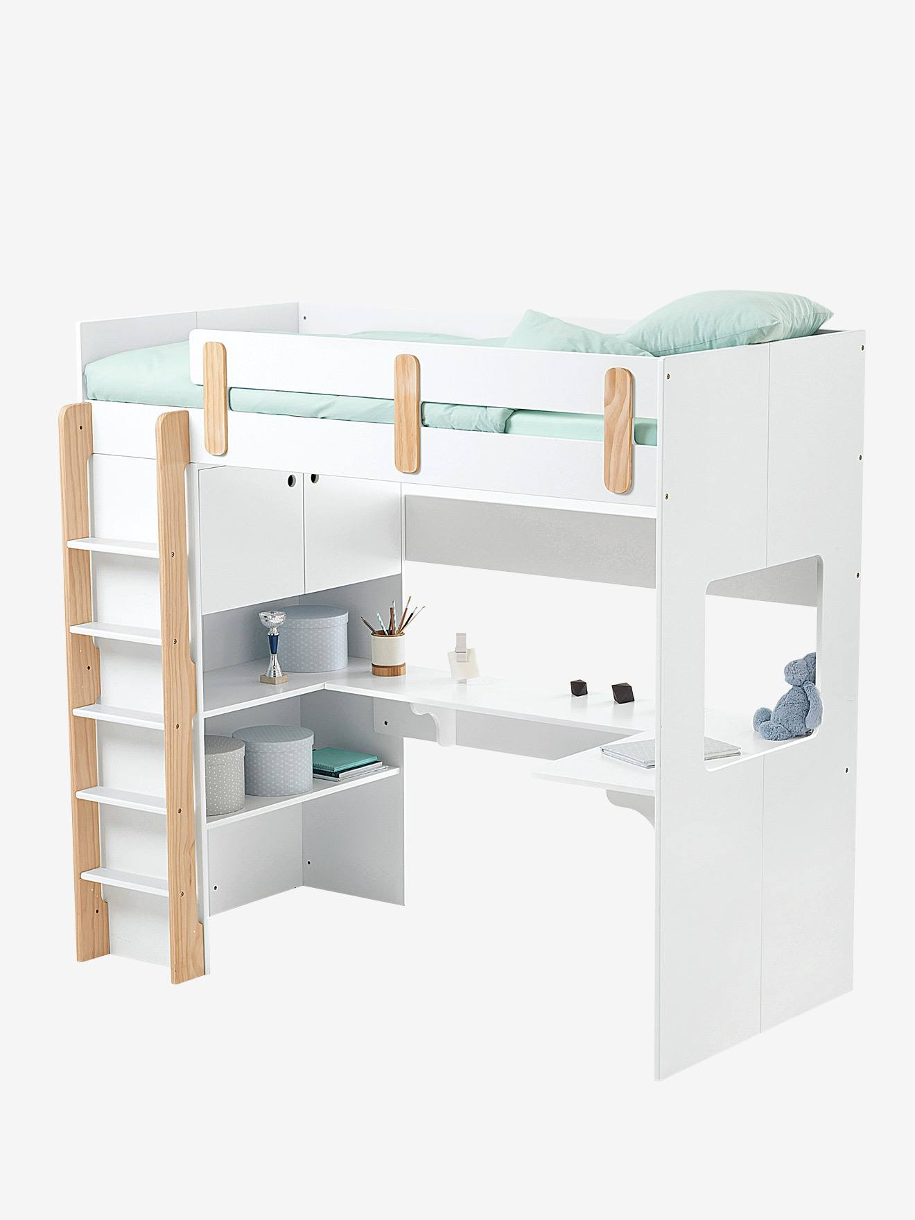 Cool lit mezzanine combin ligne everest blancbois vertbaudet enfant with table chevet mezzanine - Chevet pour lit mezzanine ...
