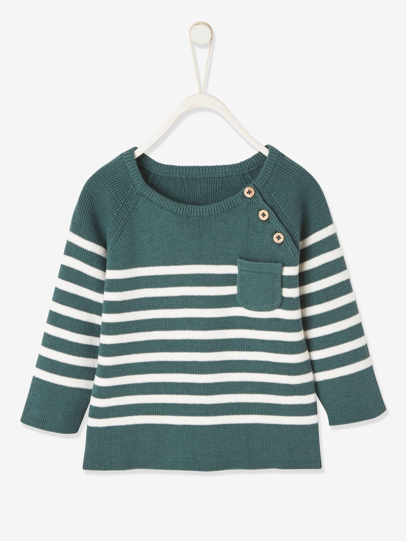 Pull marinière bébé vert grisé rayé