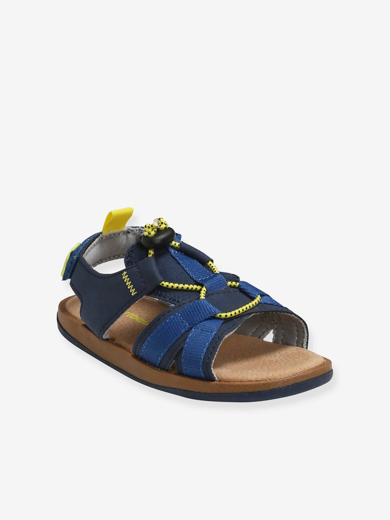 Sandales scratchées garçon bleu