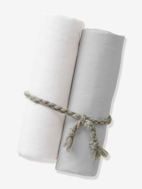 Lot de 2 draps-housses bébé BIO COLLECTION Blanc+GRIS 2 - vertbaudet enfant