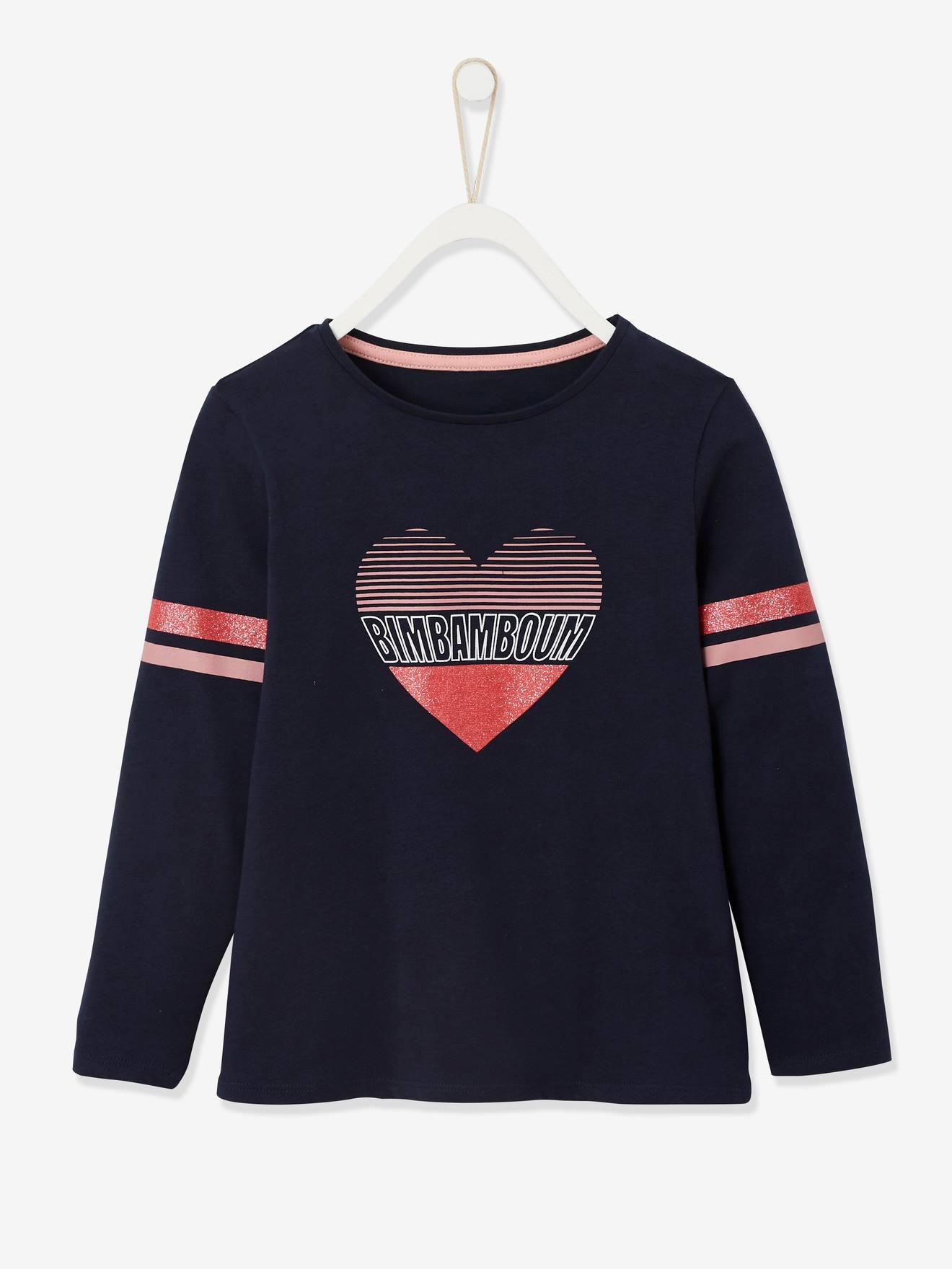 T-shirt fille esprit collège détails irisés en coton bio encre