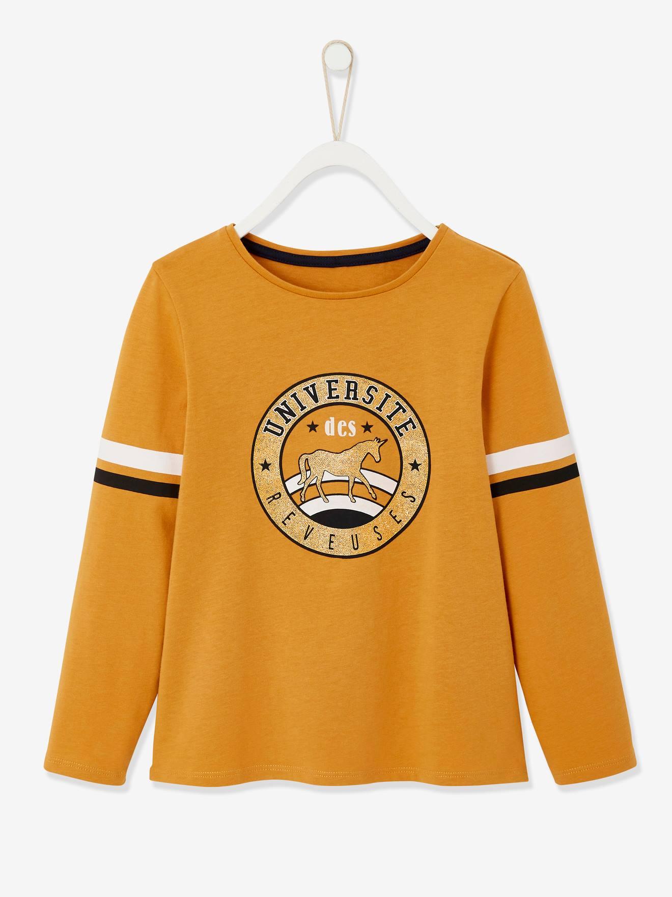 T-shirt fille esprit collège détails irisés en coton bio marron