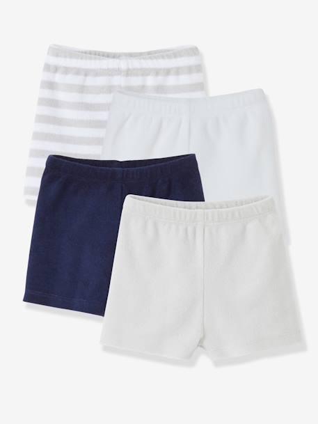 e497c02e57307 Lot de 4 shorts en éponge bébé garçon Gris pâle rayé+LOT EAU DE ROSE
